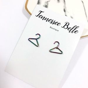Rainbow Alloy Clothes Hanger Reseller Earring Stud